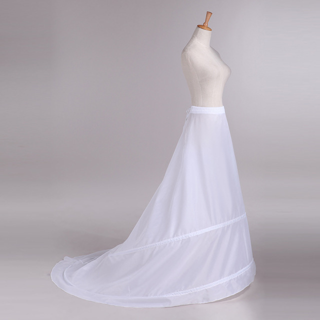 Crinoline Wedding Accessories A-Line Underskirt with Train 2 Hoop White Bridal Wedding Petticoats New Arrival