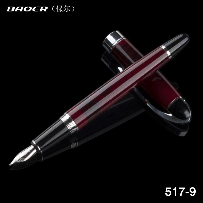 Baoer 517 красное вино полированный старшие подарки средняя чернильная ручка перо Лучшая Цена Школьная офисная металлическая авторучка|best fountain pen|fountain penfountain pens price | АлиЭкспресс