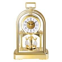Brand Silent Jumping Movement Table Clock Crystal Rotating Pendulum Desk Clock Masa Saati Saat Gold Silver HD Anti-fog Bell Face