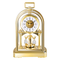 Marke Schweigen Springen Bewegung Tischuhr Kristall Rotierenden Pendel Tischuhr Masa Saati Saat Gold Silber HD Anti-fog glocke Gesicht