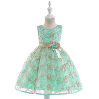 Girls Summer Embroidery Flower Boutique Dress Children Red Green Bow Round Neck Sleeveless Kids Clothing for Birthday Party