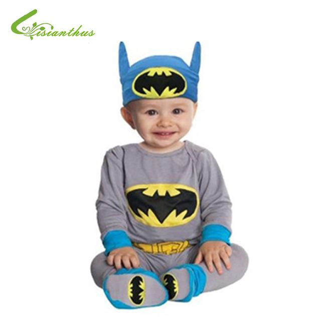 Romper do bebê Batman Supergirl Superman Manga Longa Crianças 2 PCS Vestuário Set Halloween Costume de Natal Primavera Outono Navio Livre