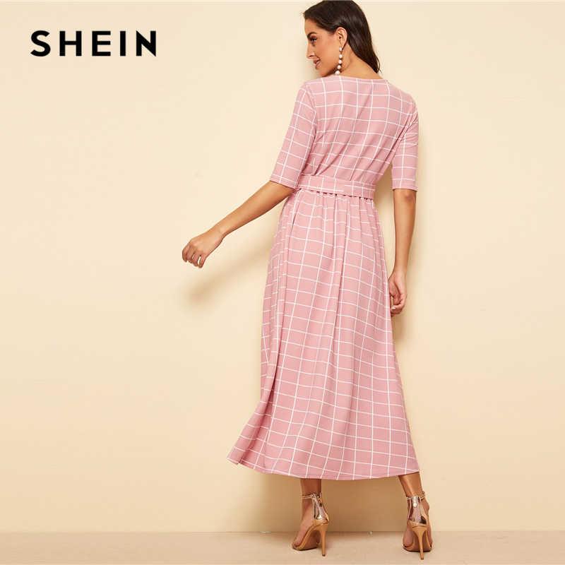 Шеин элегантный розовый Высокая талия поясом Fit and Flare плед длинное платье для женщин сезон: весна-лето Половина рукава офисные женские