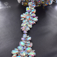 1 yard luxury wedding dress belt appliques clothing sewing rhinestones trimming flower clear AB glass stone patches for women
