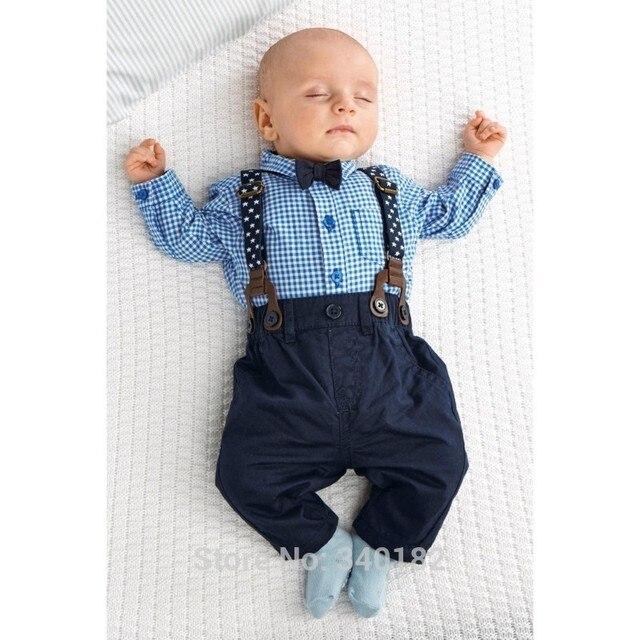 3910c017ab1c 2017 Autumn baby boy clothes baby clothing gentleman Style bow tie + plaid  shirt + Bib baby boy clothing set free shipping