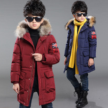 2017 New Boys Winter Thick Warm Coat Kids School Fur Hooded Casual Jacket Kid Fashion Snow Wear Down Winter Long Coats Clothes