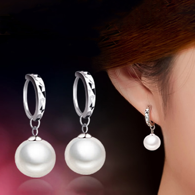 2016 Fashion High Quality Women AAA Pearl Stud Earrings Mirror Design Grade Party Ear Bead Jewelry