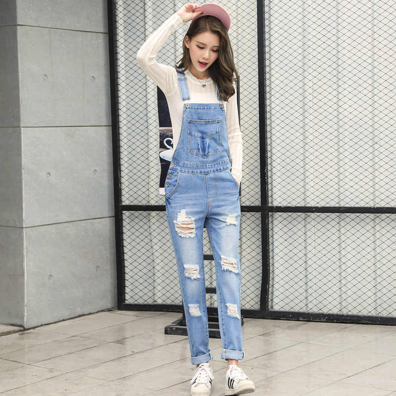 9d090e51ce4c ... High quality Strap Jeans For Women Fashion Hole Cool Overalls Pants Big  Size Casual Jumpsuit Big ...