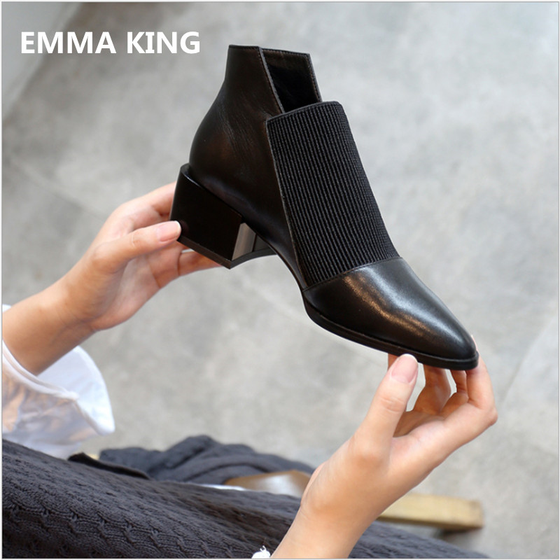 EMMA KING New Women Winter Black Ankle Booties Genuine Leather Slip-on Chelsea Boots Pointed Toe Chunky Heel Shoes Women 2018EMMA KING New Women Winter Black Ankle Booties Genuine Leather Slip-on Chelsea Boots Pointed Toe Chunky Heel Shoes Women 2018