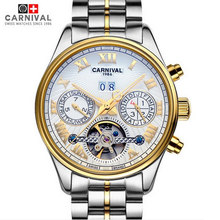 2016 New carnival tourbillon military mens mechanical watch gold full steel genuine leather strap waterproof luxury male watches