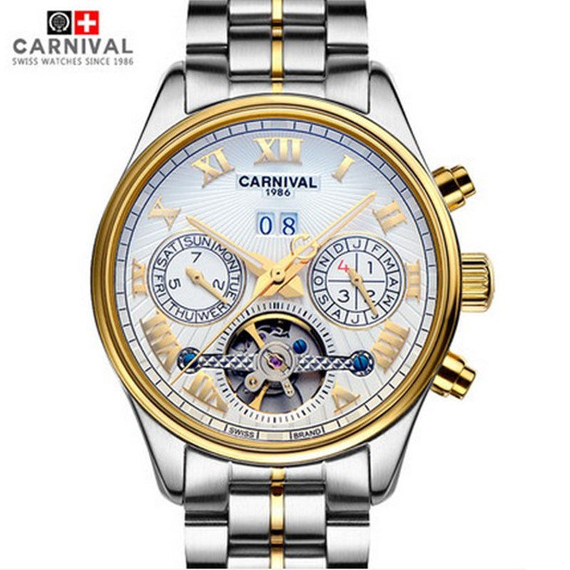 цена 2016 New carnival tourbillon military mens mechanical watch gold full steel genuine leather strap waterproof luxury male watches