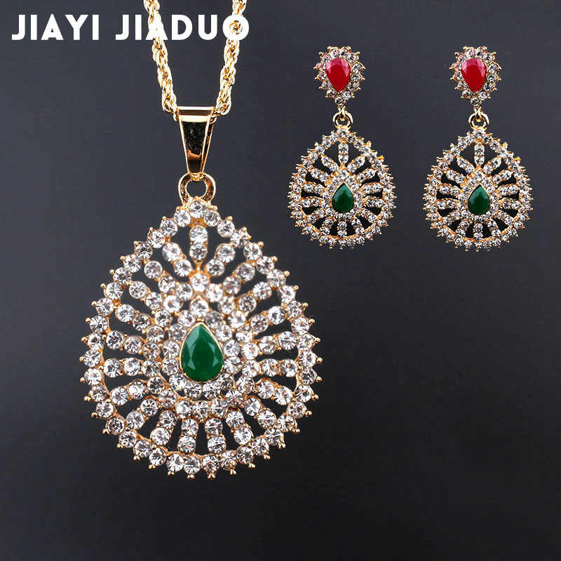 jiayijiaduo African bead jewelry set gold-color accessories wedding for women bride full Rhinestone Necklace earrings wholesale