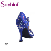 Free Shipping Suphini Brand Blue Satin Latin dancing shoes Women s Rhinestone shoes Salsa Party Latin