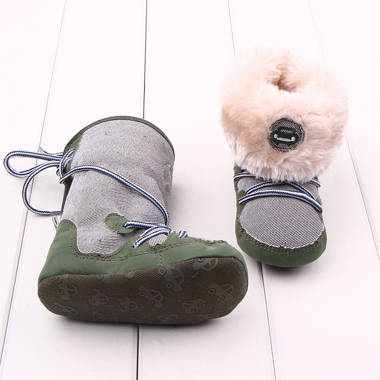 Baby Winter warme Schnee Stiefel Canvals Lace Up weiche Sohle Schuhe - Babyschuhe - Foto 5