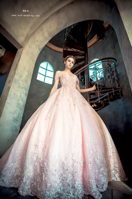 kleinfeld pink blush vestido de novia fuera del hombro de la