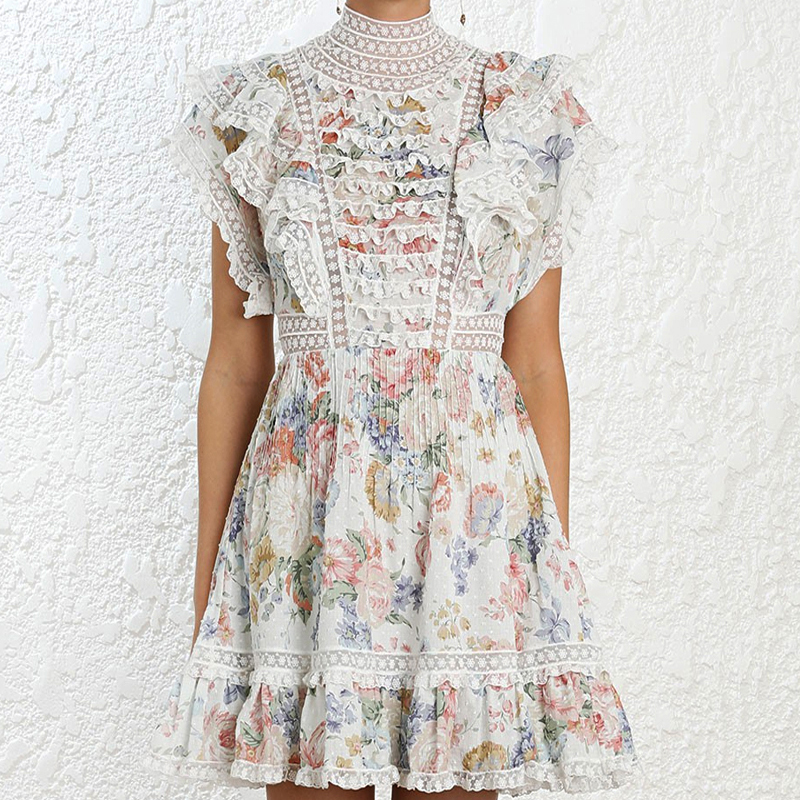 2019 new arrive floral print mini lace dress holiday vacation female dress