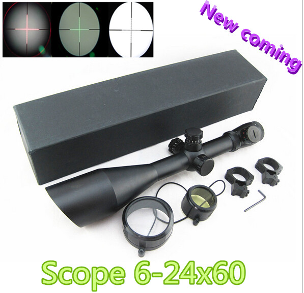 Tactical 6-24x60 mm AO illuminated Mildot side wheel hunting scope Airsoft Rifle scope for weapon telescope sight sniper gun x300 led weapon light for airsoft rifle scope for paintball hunting shooting black color free shipping