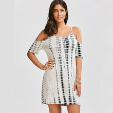 JSMY 2019 New Summer Fashion Women Sexy Backless Strap Off-the-shoulder Tie-dye Dress