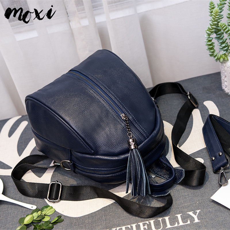 Moxi Women Backpack Genuine Leather School Daypack Tassel Design Female Travel Bag Fashion Womens Shoulder Shopping Bag Cowskin