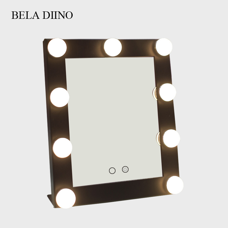 Touch Screen Led Light Makeup Mirror Rectangular Tabletop Table Standing Vanity Make Up Mirror With Light
