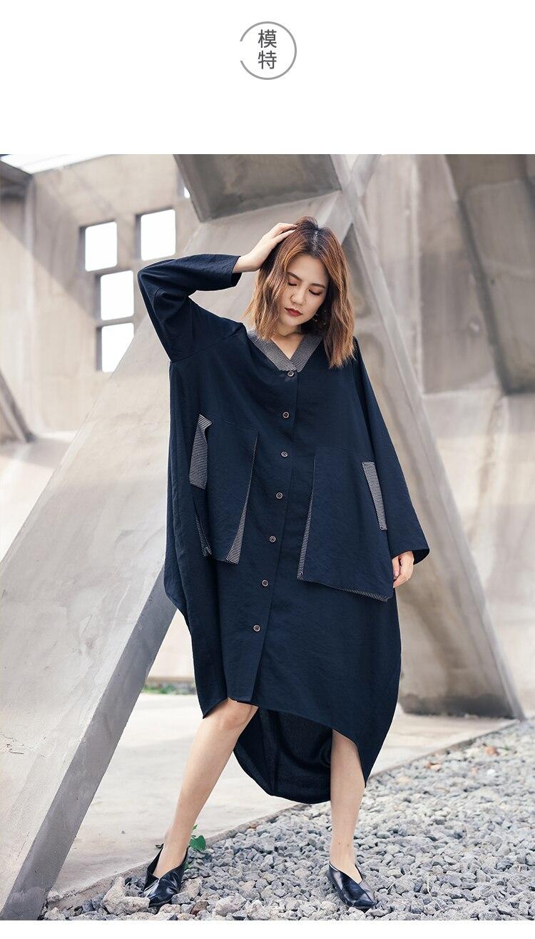 Nouveau-2019 femme nouveau printemps grande taille mode asymétrique chemise col en v couture couleur de contraste avec grande poche robe lâche