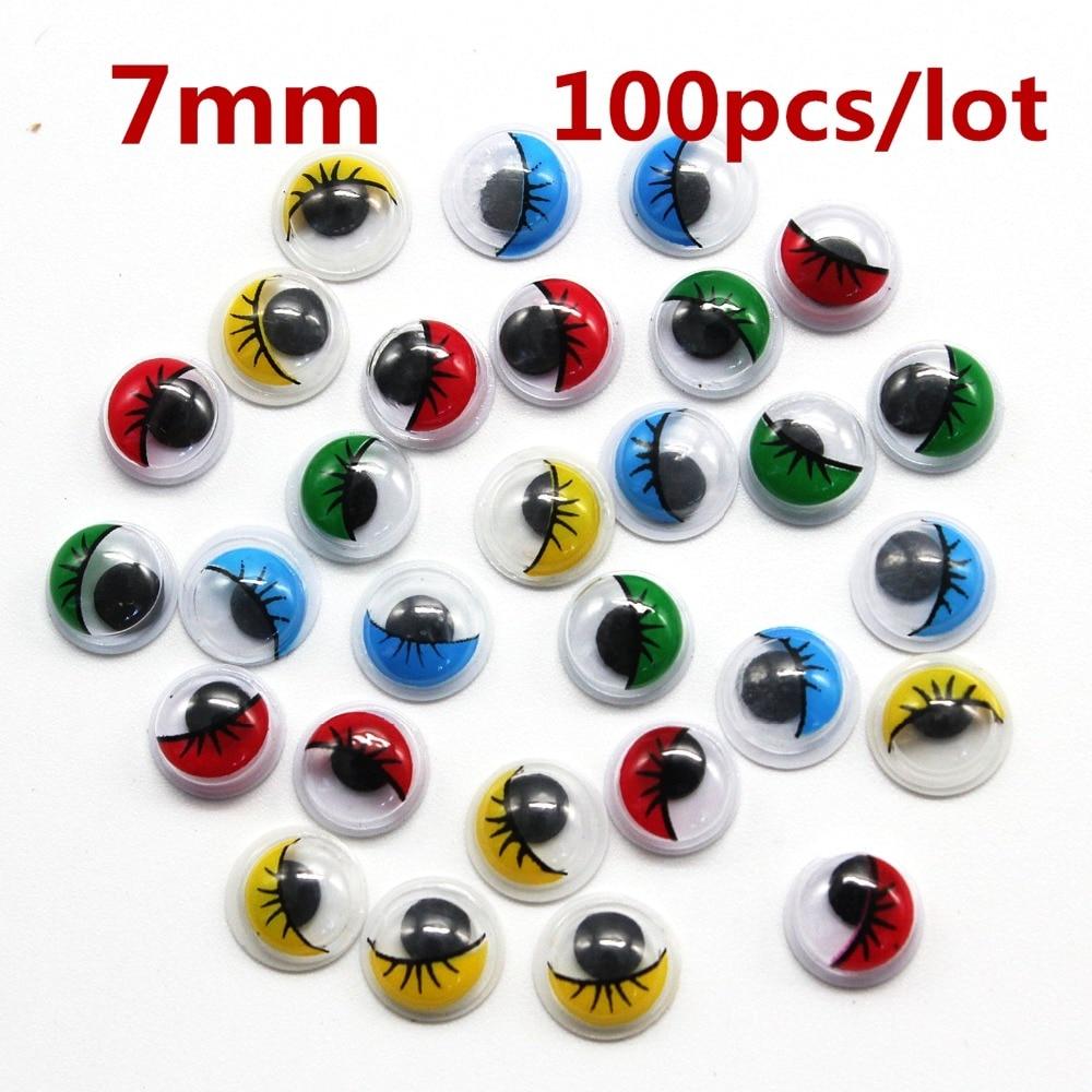 7mm 100pcs lot diy Multicolor With Eyelash Eye Activities Moving Eyeball Plastic Eyes Scrapbook For Doll