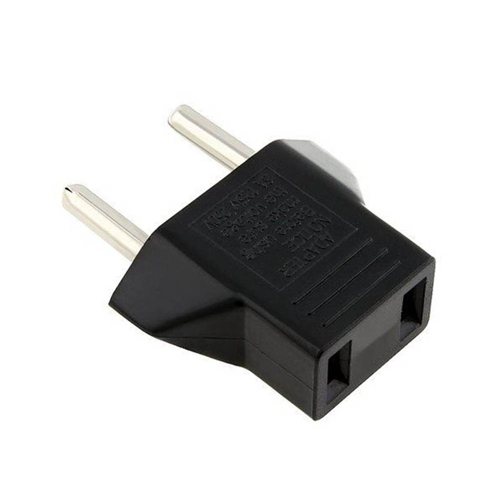 1/2Pcs Black Useful Fashion New US USA To Euro EU Europe Adapter AC Plug 2 Round Pin Socket Travel Converter image