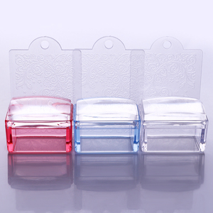 Image 2 - 1 Pc Red Blue Clear Handle Rectangle Nail Stamper Silicone Jelly Head with Scraper Nail Art Tool