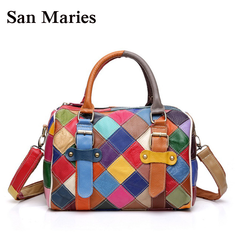 San Maries Colorful Designer Handbag Luxury Brand Boston Crossbody Bag Patchwork Plaid Ladies Tote