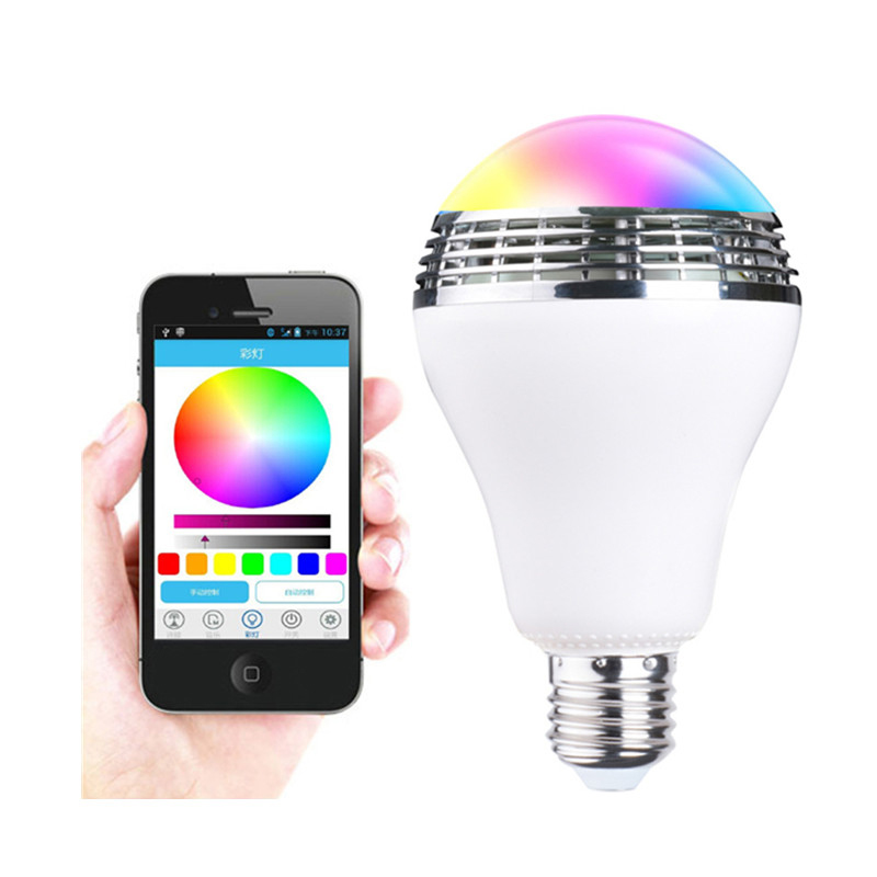Intelligent AC90V-240V 10W Audio Speakers Lamp Dimmable Speaker E27 LED RGB Light Music Bulb Color Changing via WiFi App Control 15w e27 led rgb light dimmable bluetooth app control mp3 music bulb color changing smart lamp