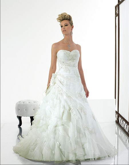 A-line ruffles Sweetheart Open back lace-up Asymmetric waist Organza seed beads sequins Lace-up back wedding dress