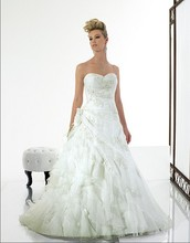 цены A-line ruffles Sweetheart Open back lace-up Asymmetric waist Organza seed beads sequins Lace-up back wedding dress