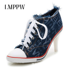 Lace Up Women Pumps Canvas Women's Shoes Fashion Brand Design Ladies High Heels Female Denim High-heeled Shoes Women Sneakers 2A