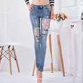 New Large Size Women Pants Female Stretch lace patchwork rhinestone crystal stitching female ripped lady cowgirl western Jeans