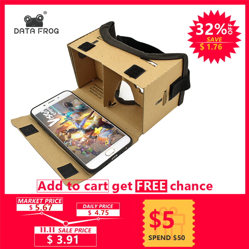 все цены на Virtual Reality Glasses Google Cardboard Glasses 3D Glasses VR Box Movies for iPhone 5 6 7 SmartPhones VR Headset For Xiaomi