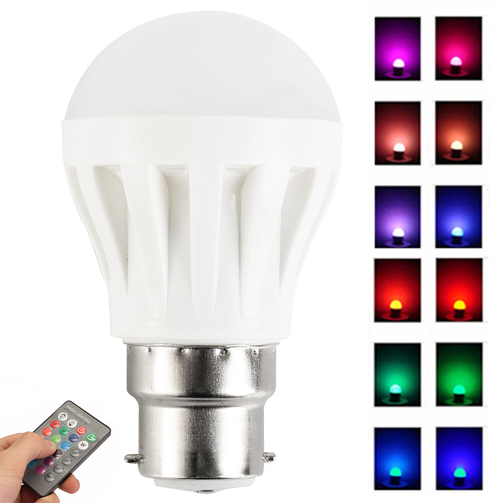4W LED Light Bulb B22 Bayonet Adjustable RGB Color Changing Bulb With IR Remote Controller for living room dining room bedroom