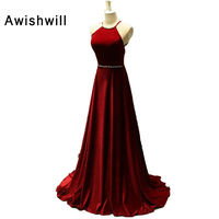 Real Photo Vestido de Formatura Sexy Backless A line Burgundy Velvet Evening Gowns Long for Wedding Party Prom Dresses 2019