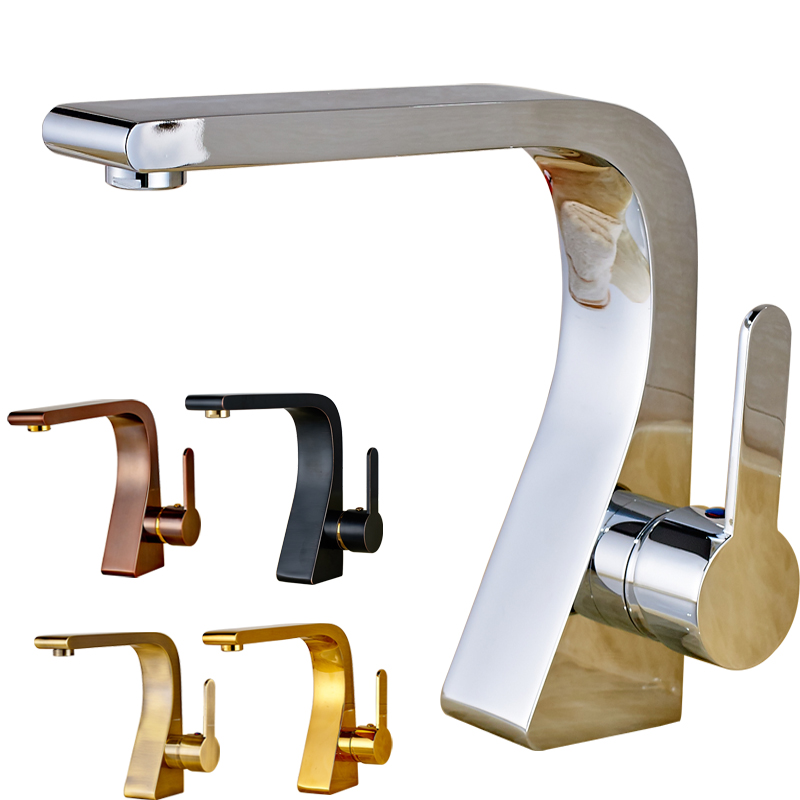 Newly Basin Vanity Sink Mixer Faucet Mult-color Single Handle Deck Mounted Hot and Cold Water Taps With Best Quality deck mount creative design basin sink faucet single handle chrome hot cold water vanity sink mixer taps