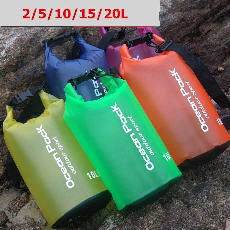 2L/5L/10L/15L/20L Outdoor Swimming Drifting Diving Underwater PVC Waterproof Bag Dry Sack Storage Rafting Sports Travel Bag