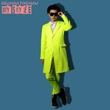 Male costume yellow long jacket outwear coat slim star show for singer dancer performance nightclub bar groom men  bar fashion