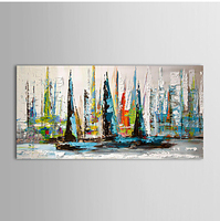 Hand Painted Canvas Painting Sailing Boat Modern Abstract Canvas Wall Art Ready to Hang