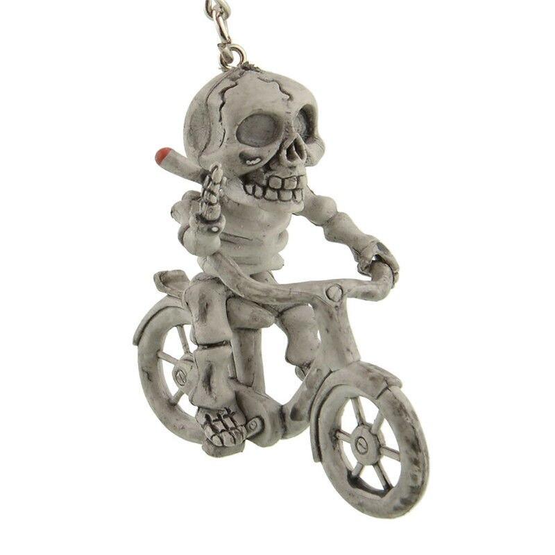 Creative Moto Bike Skateboard Skull Toilet Bag Rubber Keychain Keyring Key Chain