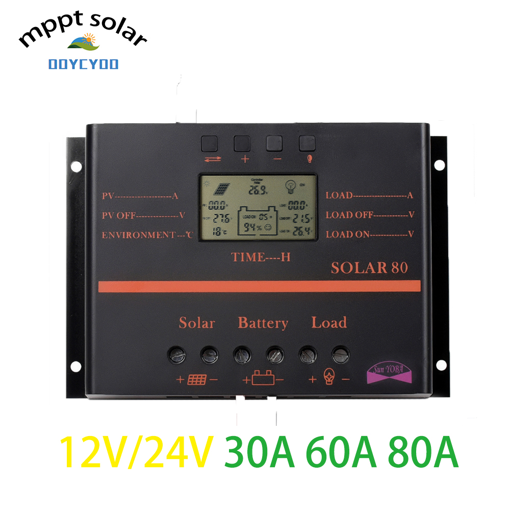 OOYCYOO MPPT 30A 60A 80A Plus LCD Solar Panel Battery Charge Controller Regulator 12V 24V PWMOOYCYOO MPPT 30A 60A 80A Plus LCD Solar Panel Battery Charge Controller Regulator 12V 24V PWM