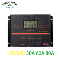 OOYCYOO MPPT 30A 60A 80A Plus LCD Solar Panel Battery Charge Controller Regulator 12V 24V PWM