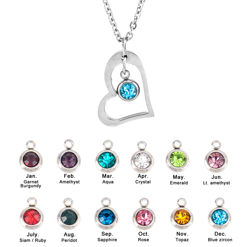 Risul-Female-Jewelry-birth-stone-in-Heart-Charm-Necklace-Rolo-chain-Stainless-steel-best-friend-beautiful