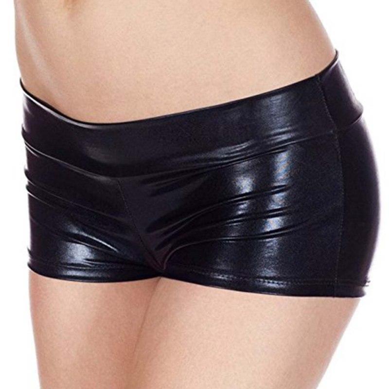 PU Women Summer Short Trouser Funny Imitation Leather Flat Angle Women Fashion Sexy Shorts