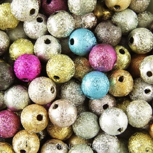 50PCS 8mm 3D Acrylic Mixed Round Pearl Spacer Loose Dream Beads Jewelry Making