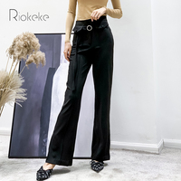 Riokeke Casual High Waist Slim Wide Leg Women's Pants Slit Female Trousers Women Winter Long Leg Pants Women 2018 Autumn New