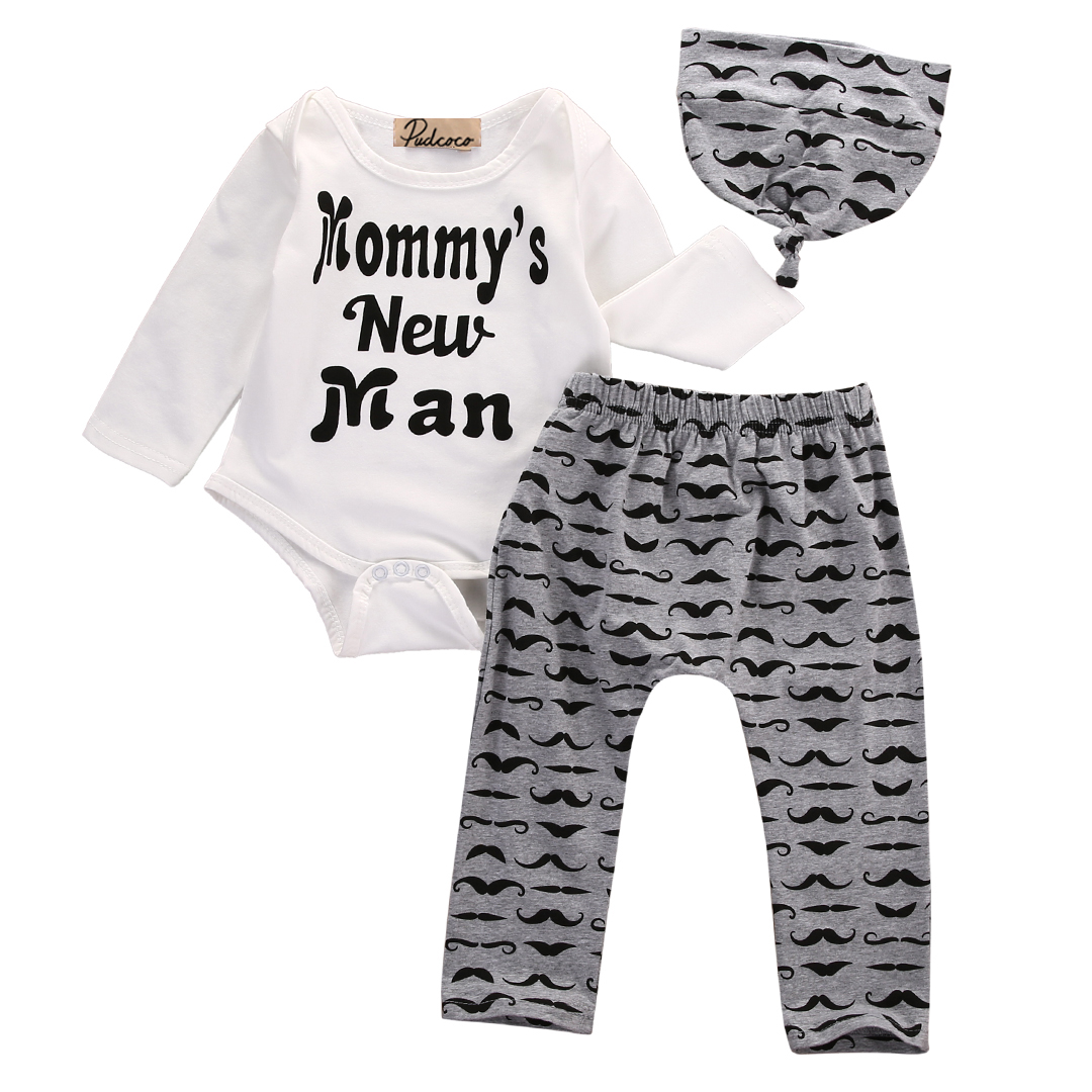 Cotton Set Newborn Baby Girls Boys Tops O-Neck Letters Romper +Long Pants Hat Outfits Clothes 3PCS 0-18M 3pcs set newborn baby boys girls clothes set tops rompers cotton pants leggings hat outfits clothing baby boy 0 18m