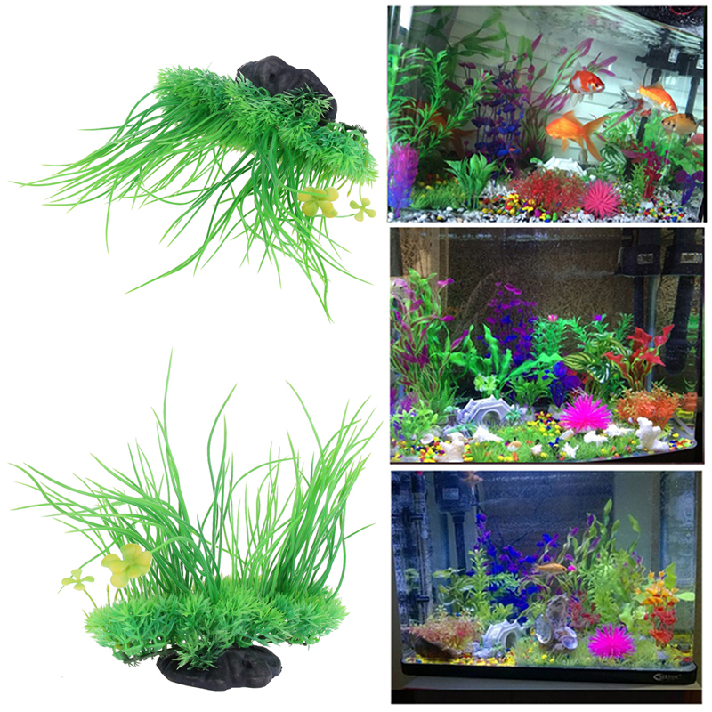 2017 8 inch aquarium artificial plant grass green plastic for Water garden fish tank